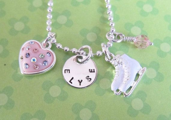 Figure Skating - Ice Skating - Personalized Girls Jewelry - Girls Charm Necklace - Hand stamped - Custom - Children's Jewelry Little Girls