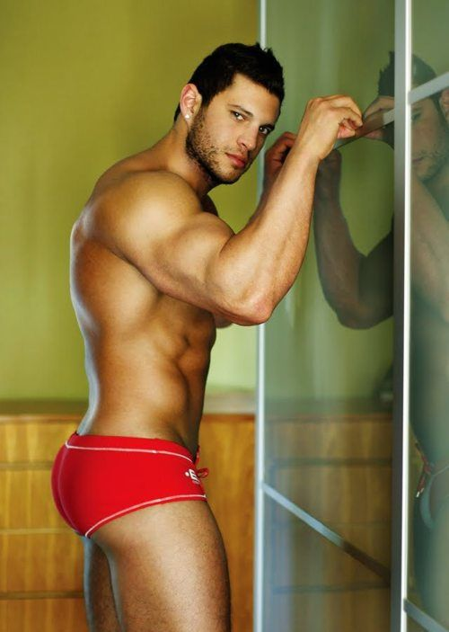 Hot gay men working out in underwear