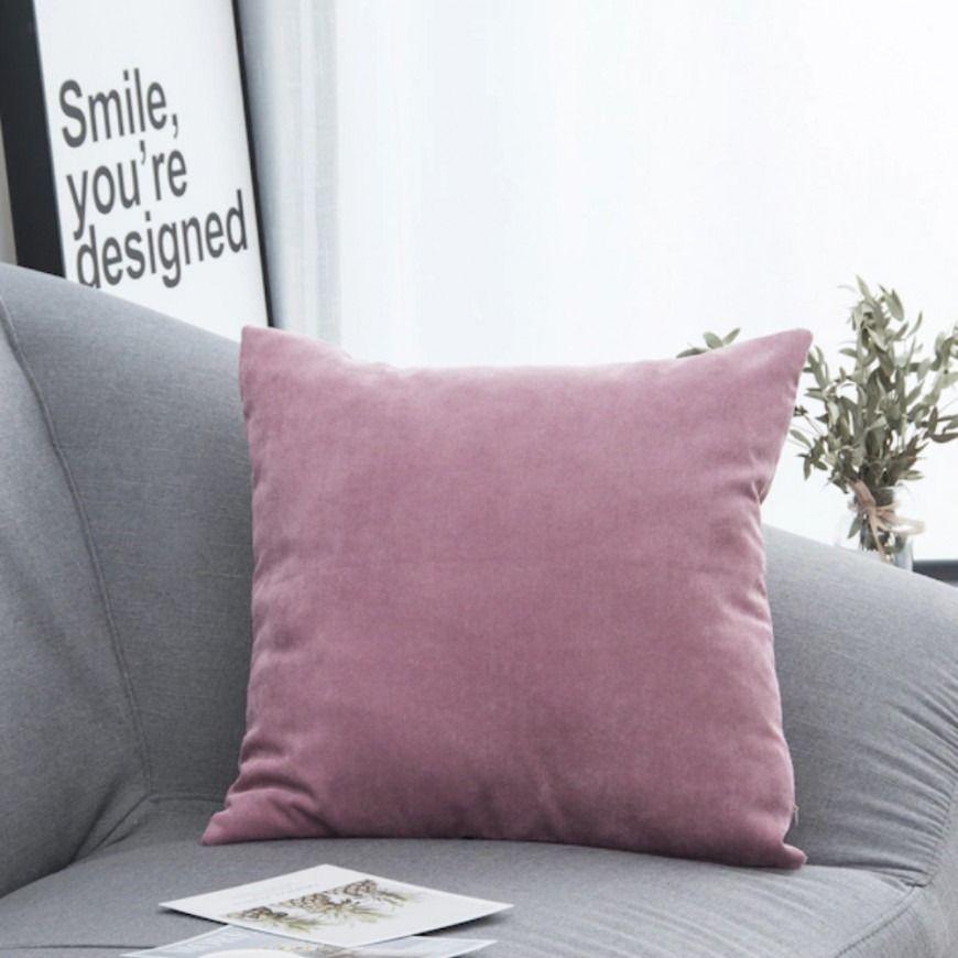 غطاء خدادية مخملي وردي Home Accessories Pillows Throw Pillows