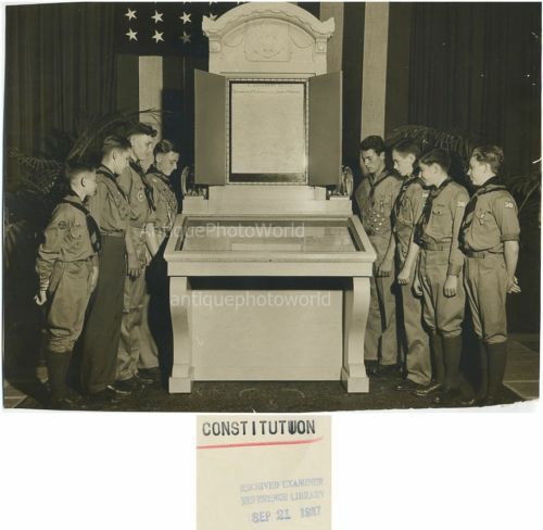 Boy Scouts Looking at US Constitution Antique Photo | eBay