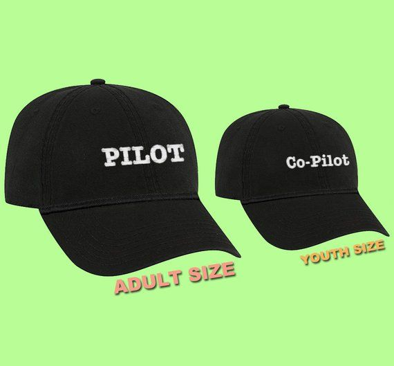 Father and Son Matching Hats PILOT and Co-Pilot Hats Gifts for Dad Mom and dad  hat Gift for mom Kids dad hat Grandpa hat Youth hat Grandson b808780fe5bd