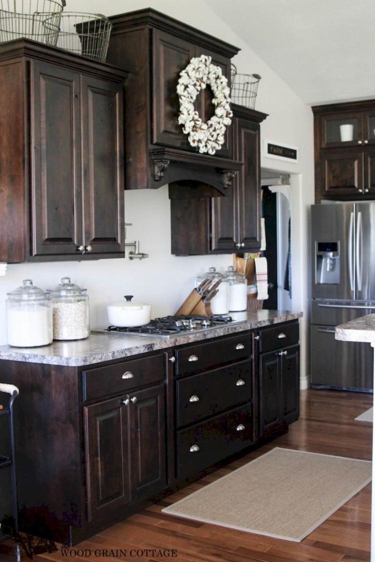 70 Gorgeous Kitchen Backsplash Decor With Dark Cabinets Kitchen Cabinets Decor Beautiful Kitchen Cabinets Dark Wood Kitchen Cabinets
