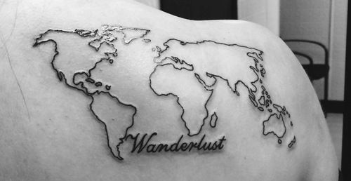 Largeg 500258 tattoos pinterest map tattoos tattoo and world map outline back tattoo 80 fantastic map tattoos gumiabroncs Images