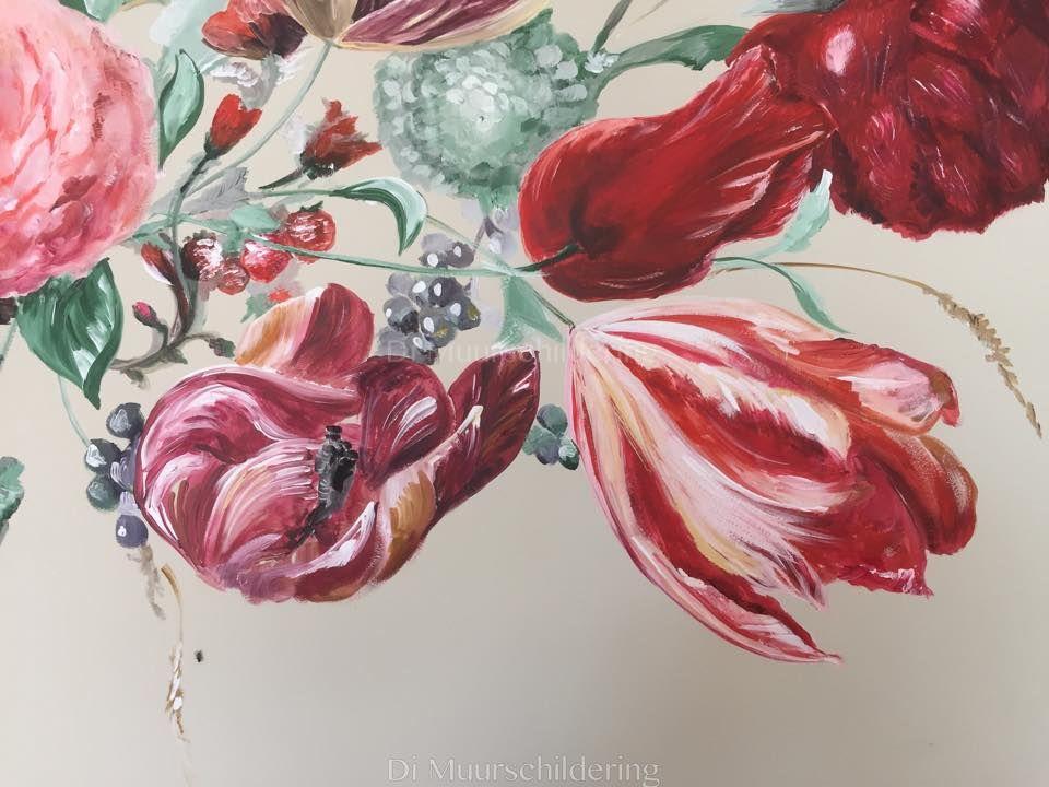 Muurschildering bloemen gerealiseerd door di muurschilderingen