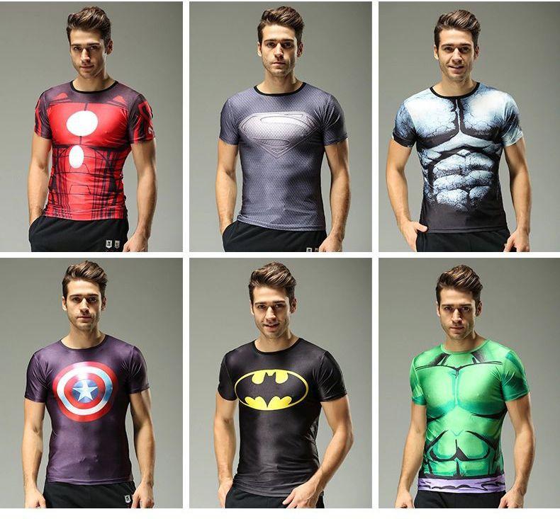 Men Short Sleeve T Shirts The Avengers Superhero Compression Shirts Elastic Slim