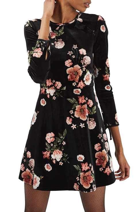 0591065c2741 Topshop Floral Velvet Dress