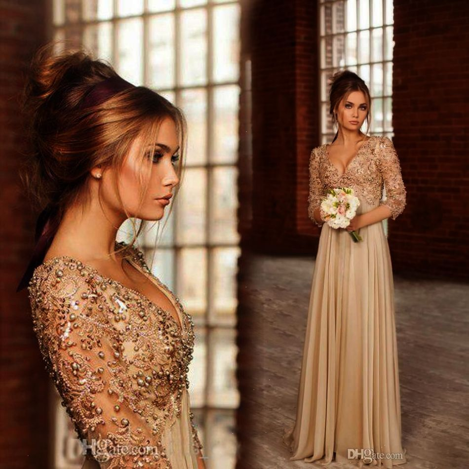 Vintage gold long sleeves lace chiffon evening dress with beads