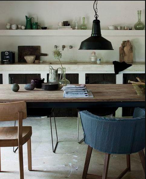 Jeroen Van Der Spek (eclectic Vintage Industrial Rustic Kitchen} Love The  Blue Chair