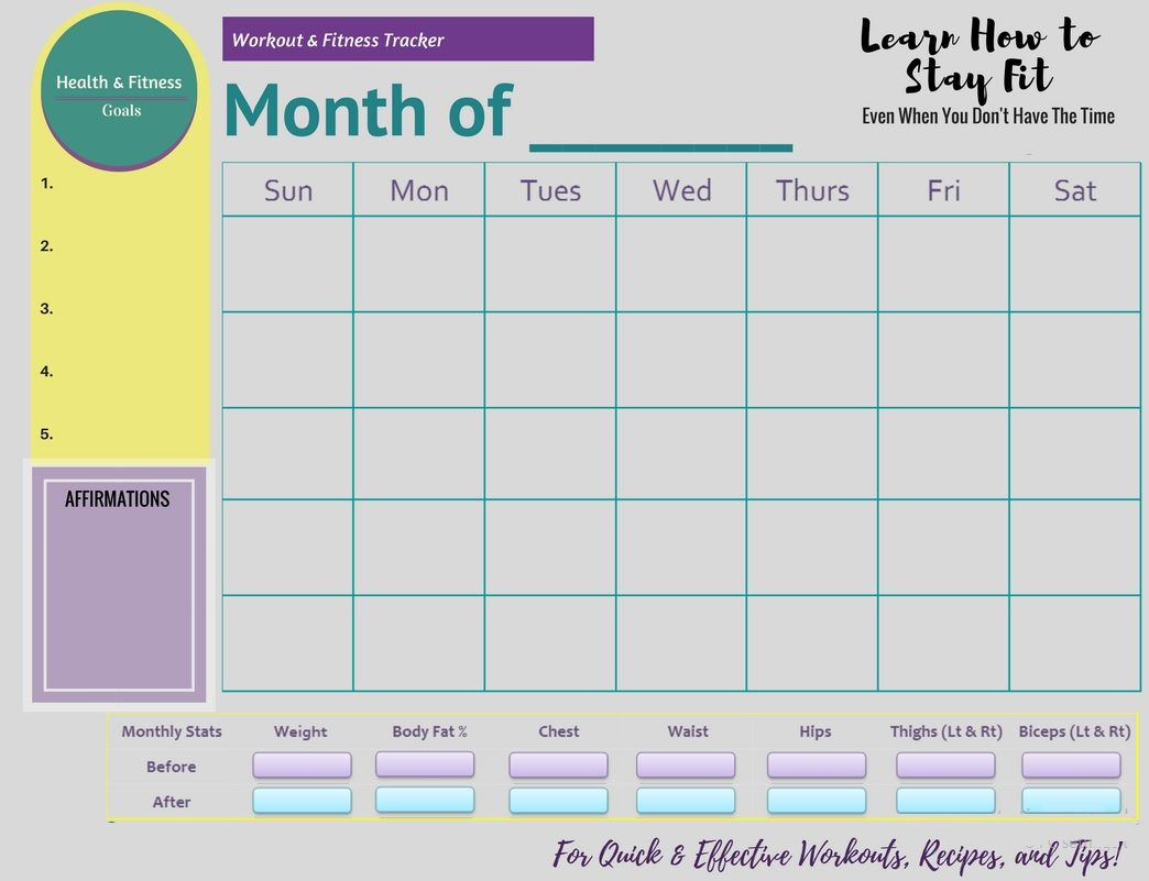 Free Printable Fitness Monthly Tracker