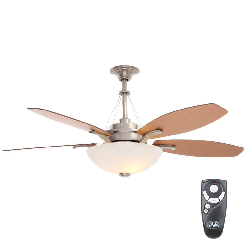Hampton Bay Brookedale 60 In Indoor Brushed Nickel Ceiling Fan With Light Kit And Remote Control Brushed Nickel Ceiling Fan Ceiling Fan 60 Ceiling Fan