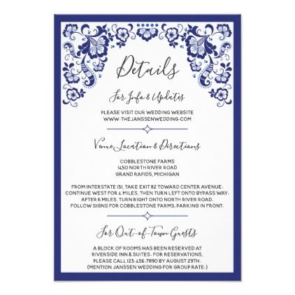 Delfts blauw delft blue dutch wedding details card delft delfts blauw delft blue dutch wedding details card delft invitation card design and wedding invitation cards stopboris Choice Image