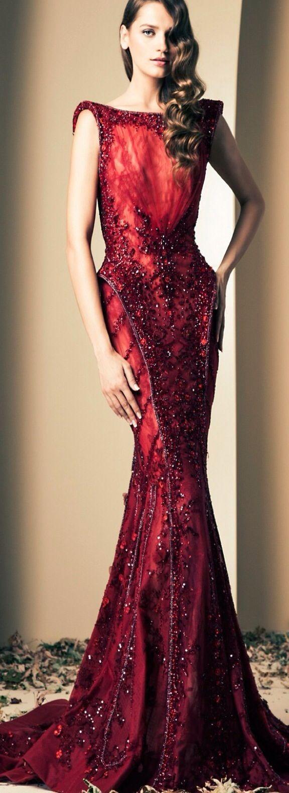 Ziad nakad wine red luxury mermaid evening gowns prom dresses
