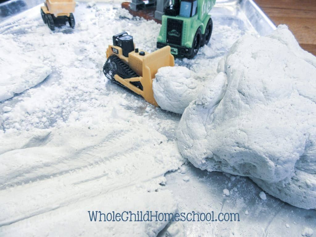 Make this easy No Melt Snow Dough style of homemade playdough in less than 10 minutes start to finish Keeps your kiddos entertained for hours and lasts a long time betwee...