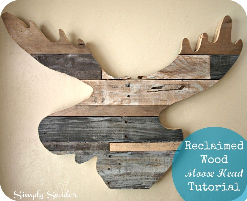 Moose head wall art made from reclaimed wood from pallets ideas