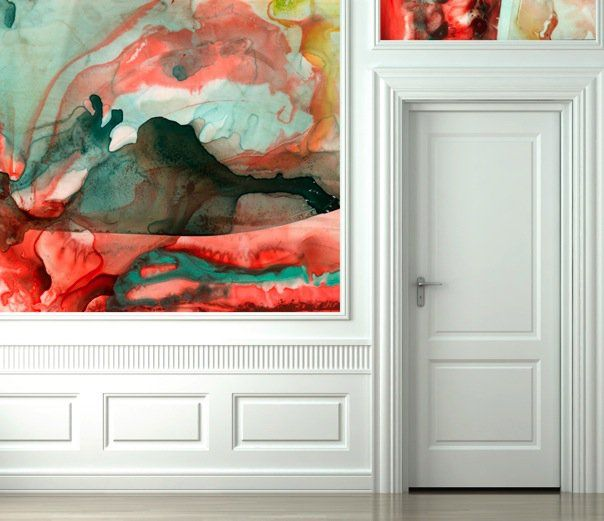 Watercolor Wallpaper by Black Crow Studios. (Something tells me an old fashioned pink/red round glass door knob would have been perfect - short of painting the door a (coordinating) vibrant yellow or pink!)