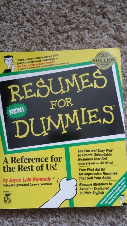 Resume writing Dummies Joyce Lain Kennedy Paperback 1996 samples - resumes for dummies