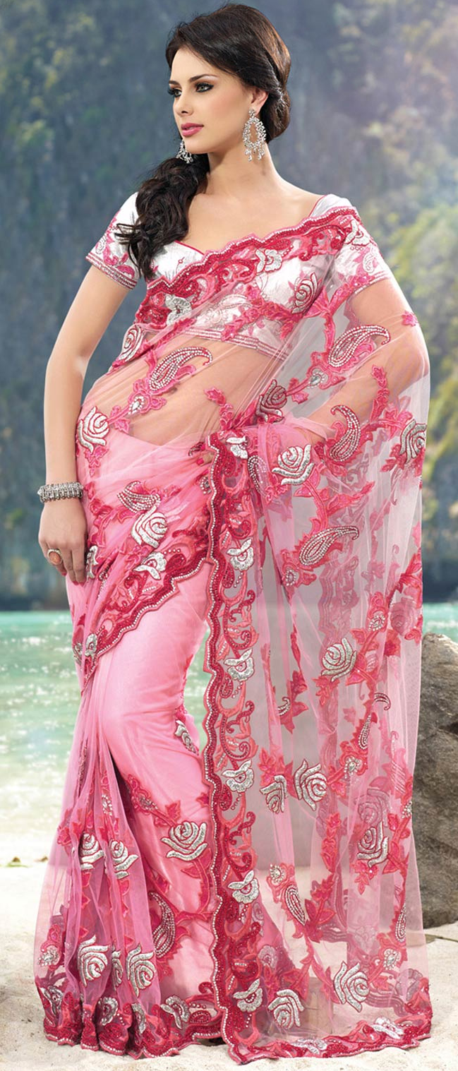 Shaded Light #Pink #Net #Saree With Blouse @ $199.81 | Vestidos ...