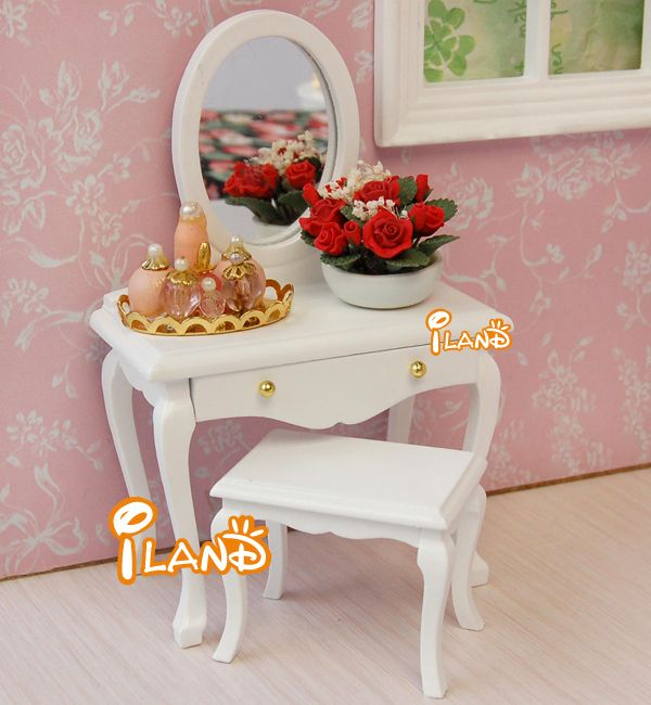 Dollhouse Miniature Bedroom Wooden Furniture White Dresser With Mirror /& Stool