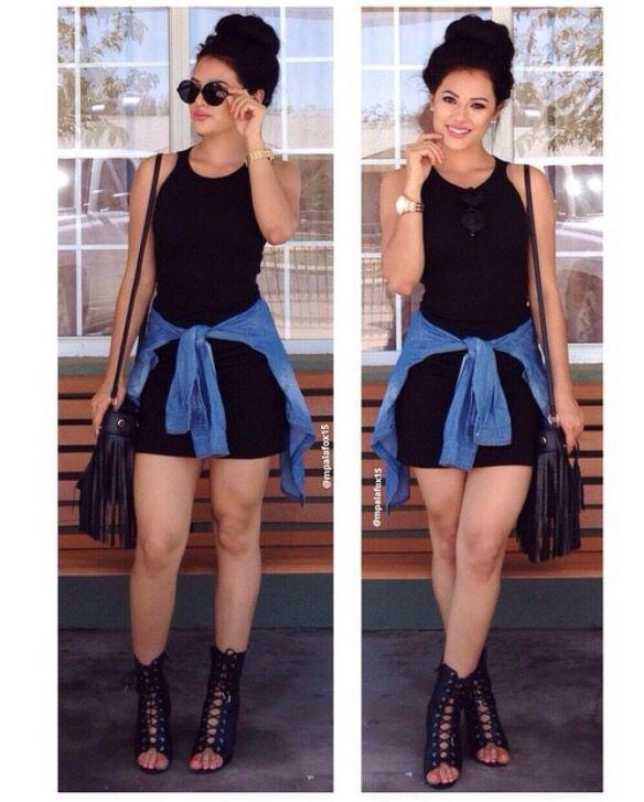The 25 best denim shirt outfit summer ideas on pinterest for Black dress shirt outfit