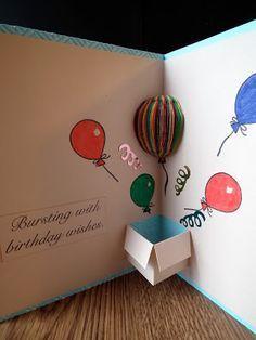 3 D Karte Mit Karton Und Ballon Diy Birthday