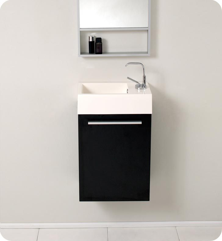 15.5u201d Fresca Pulito (FVN8002BW) Small Black Modern Bathroom Vanity W/ Tall  Mirror