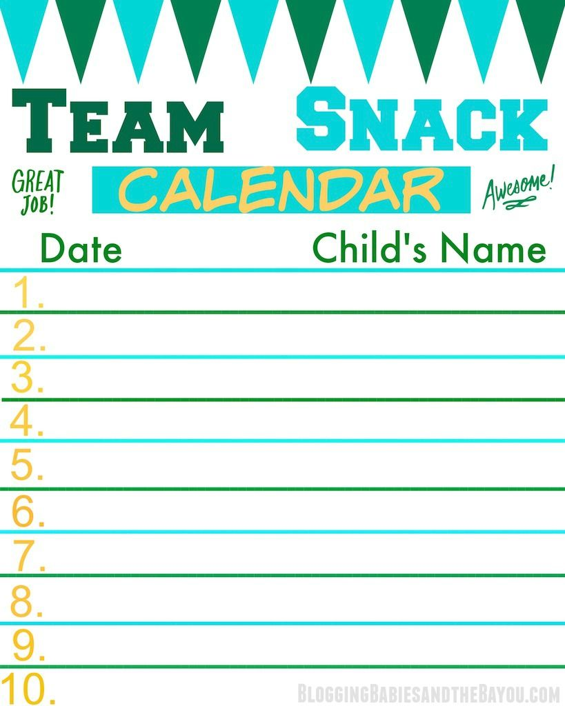 team snack calendar perfect for the team mom or sports coach