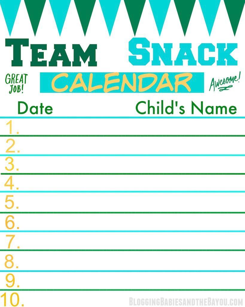 team snack calendar perfect