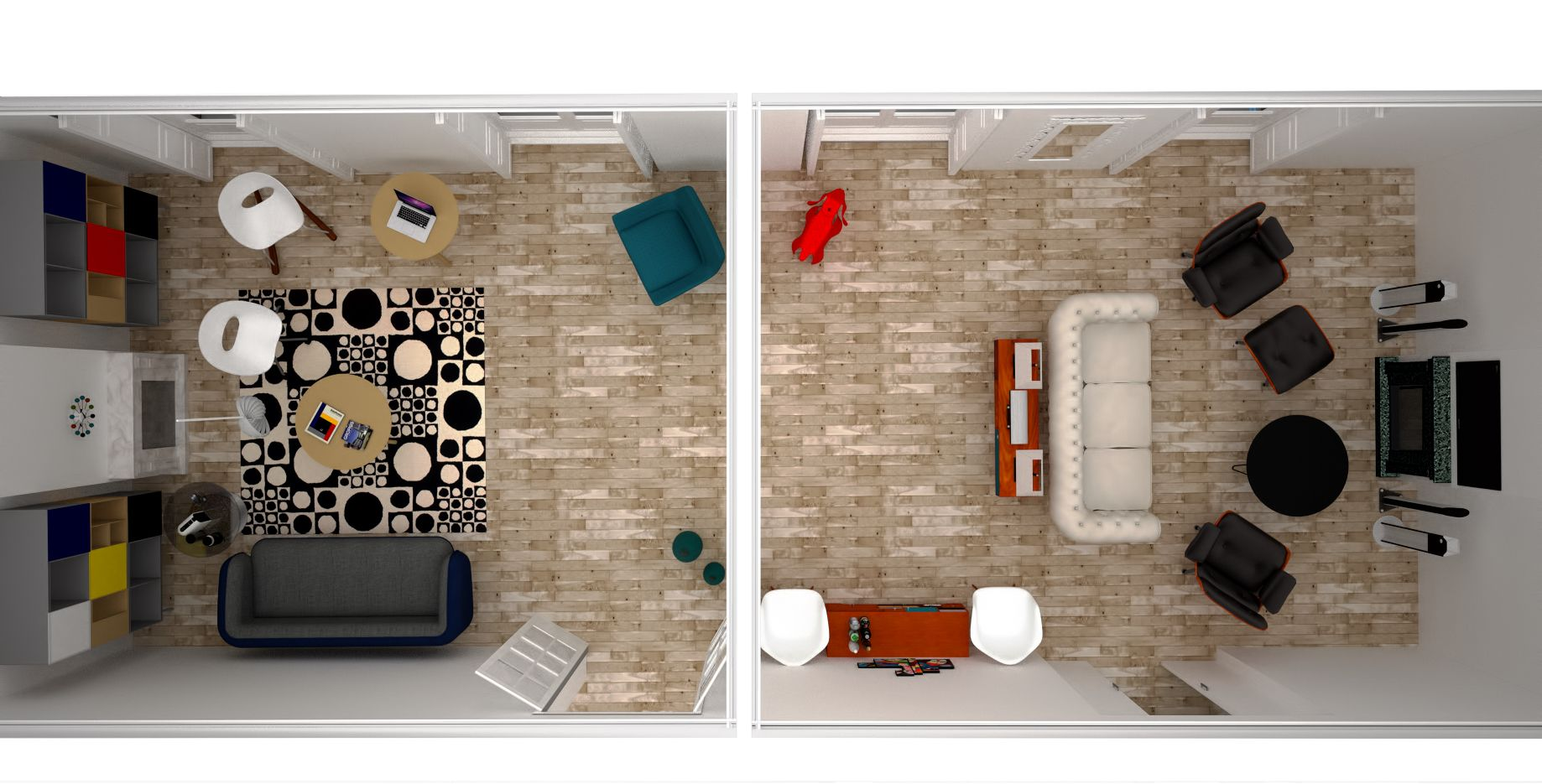 Vista En Planta Del Sal N Y Sala De Tv Interior Design Reforma