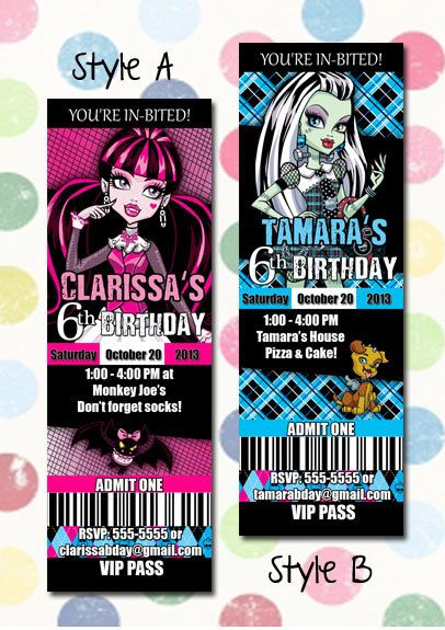 Monster High Birthday Party Invitation Ticket Style You Print Digital File…