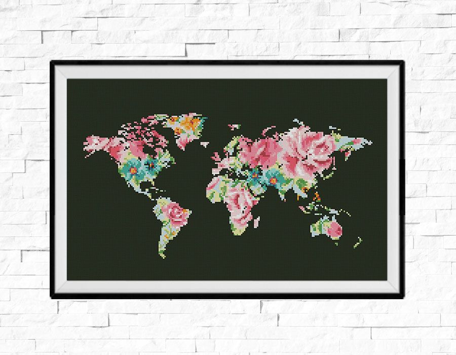 Bogo free world map cross stitch pattern world map silhouette world map cross stitch pattern floral world map silhouette flowers counted cross stitch chart modern decor pdf download 025 17 gumiabroncs Gallery