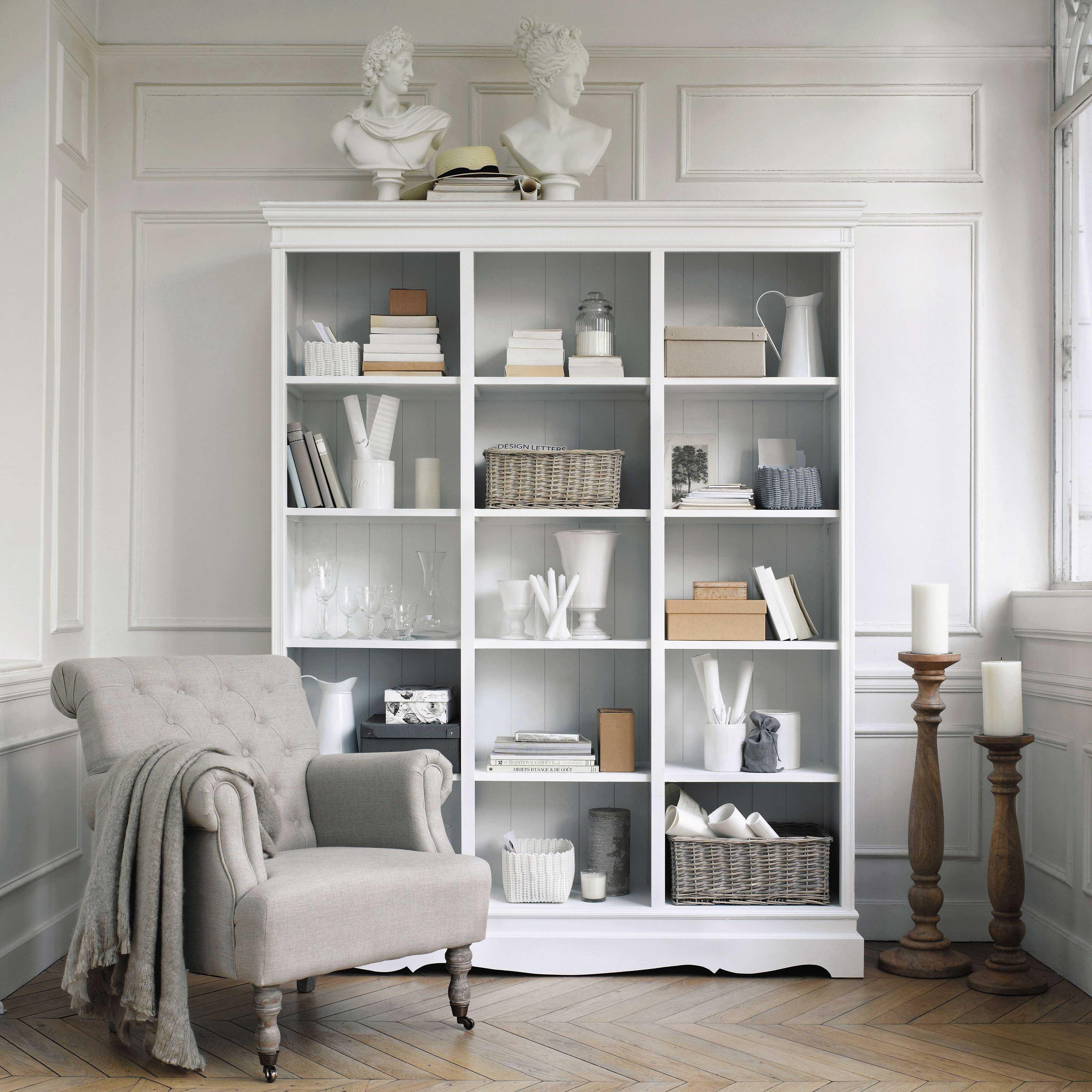 Librer a de paulonia blanca biblioteca sillones para - Librerias salon blancas ...