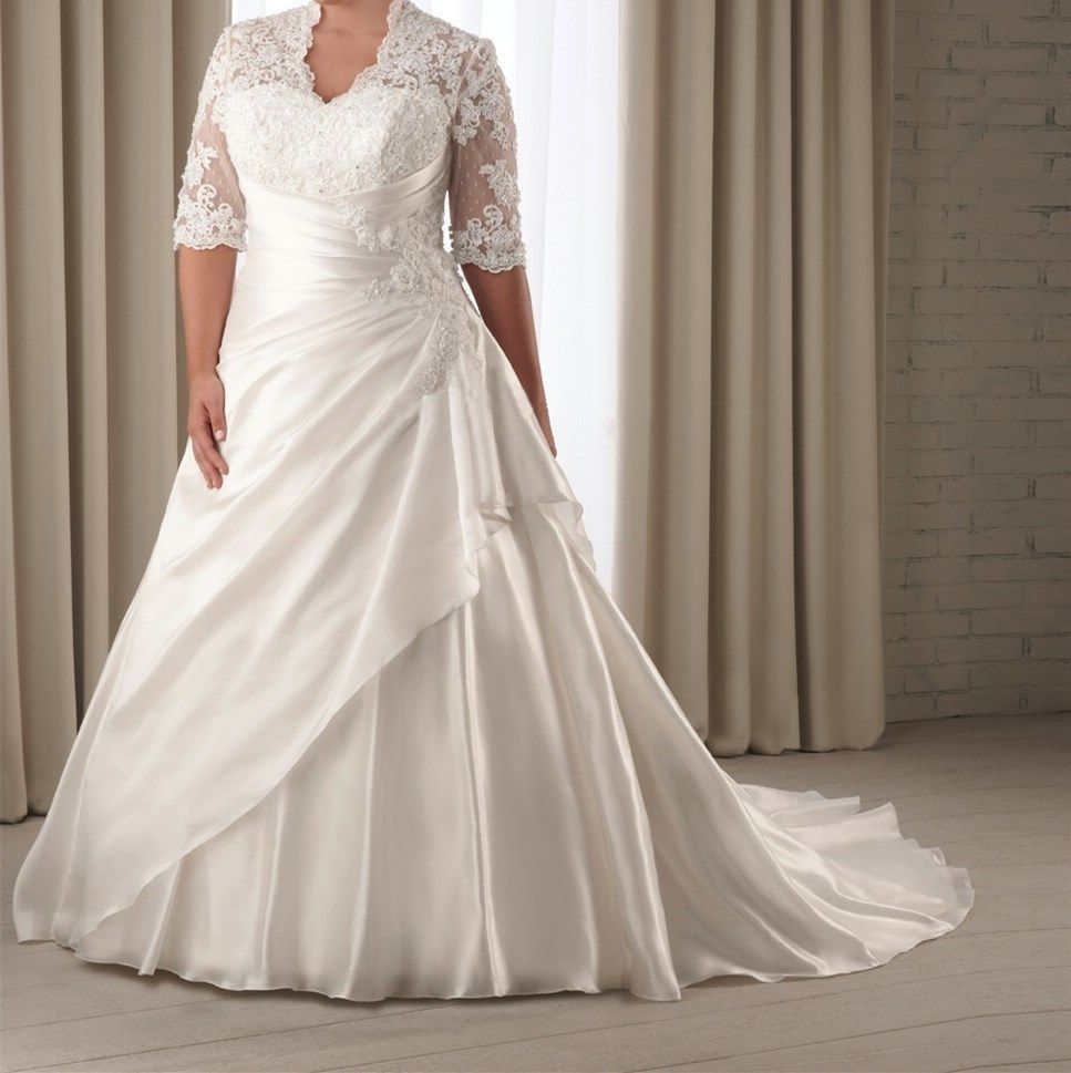 Size 24 wedding dress  Half Sleeve Lace Wedding Dresses Bridal Gown Custom Plus Size