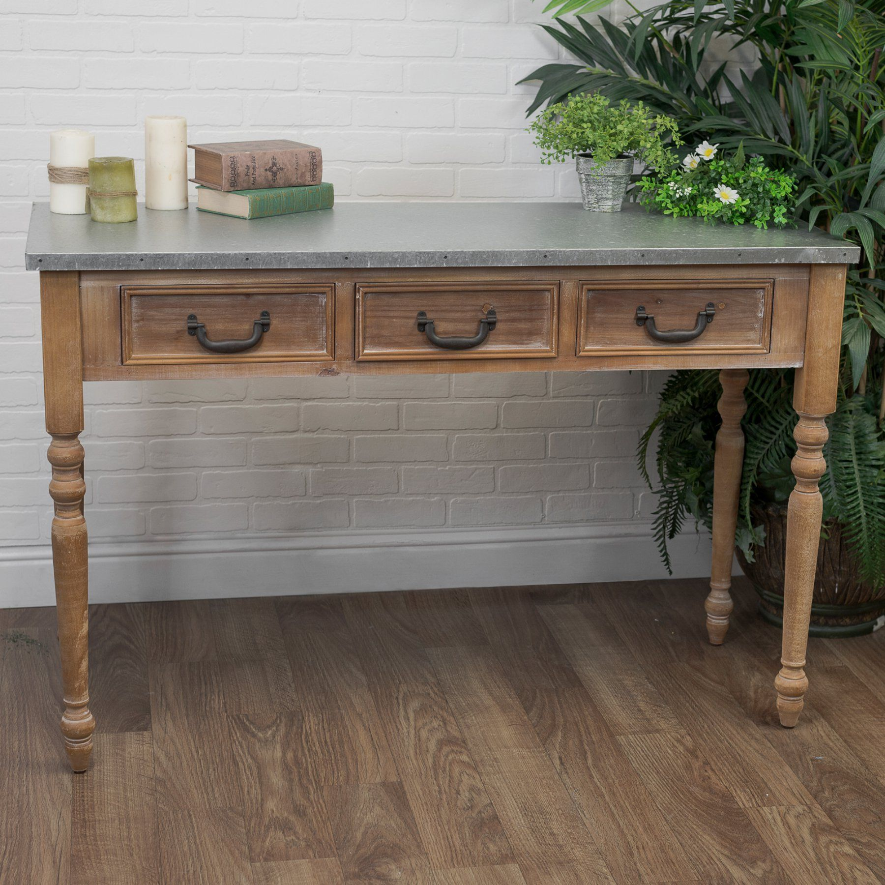 American Mercantile Galvanized Top Wood Console Table  Mt2449
