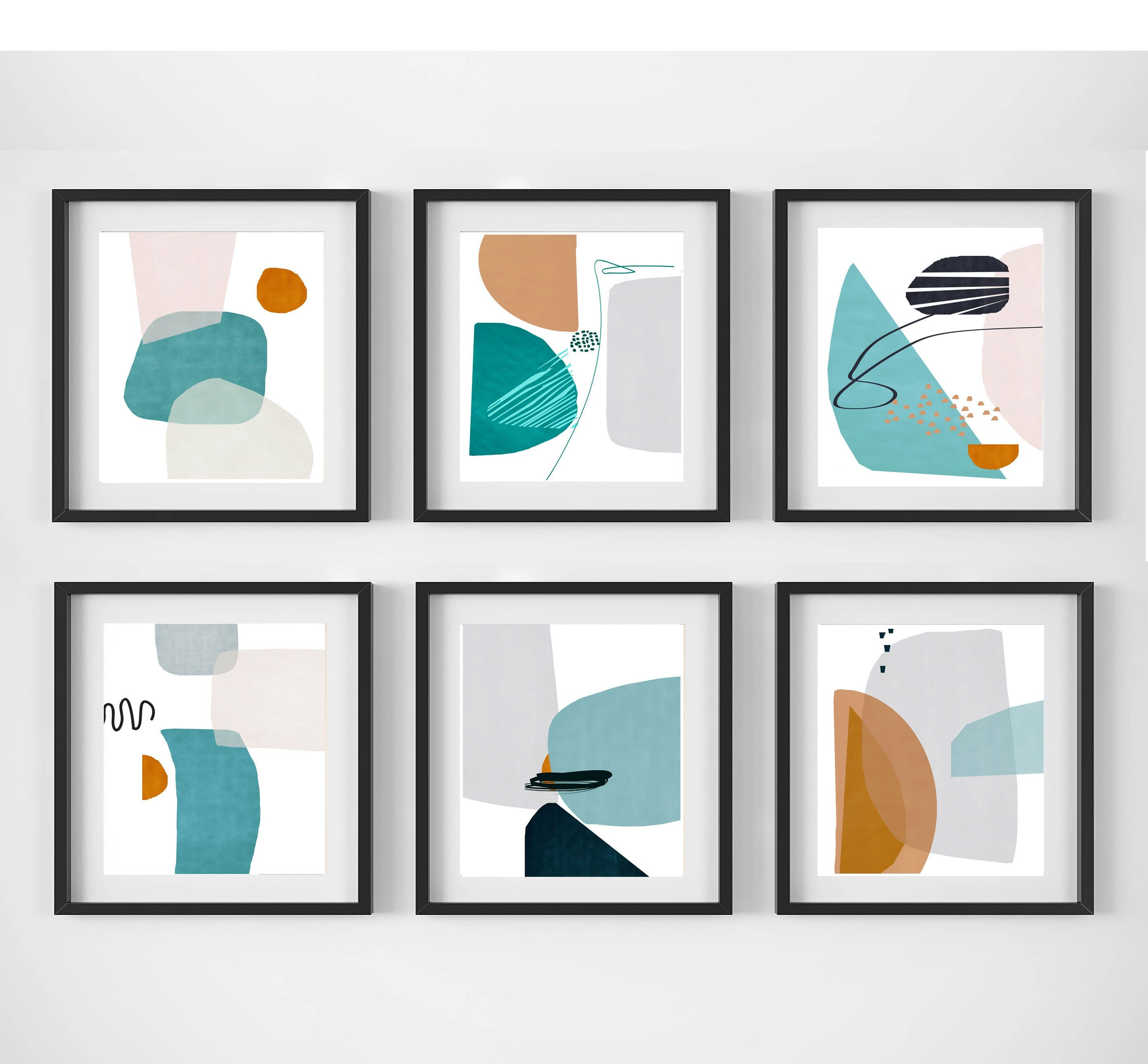 Abstract Geometric Scandi Art Set Of 6 Prints Sage Green Art Etsy Geometric Art Scandi Art Green Art Abstract
