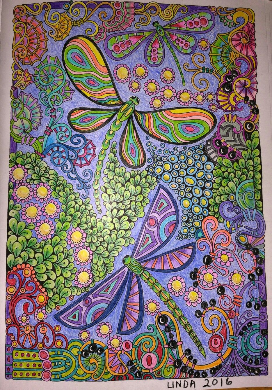 CREATIVE HAVEN, Entangled Dragonflies colored by Linda Koenig