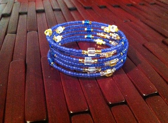 Large Blue Gold and Silver Bracelet Memory Wire by RoyalDescent, $20.00