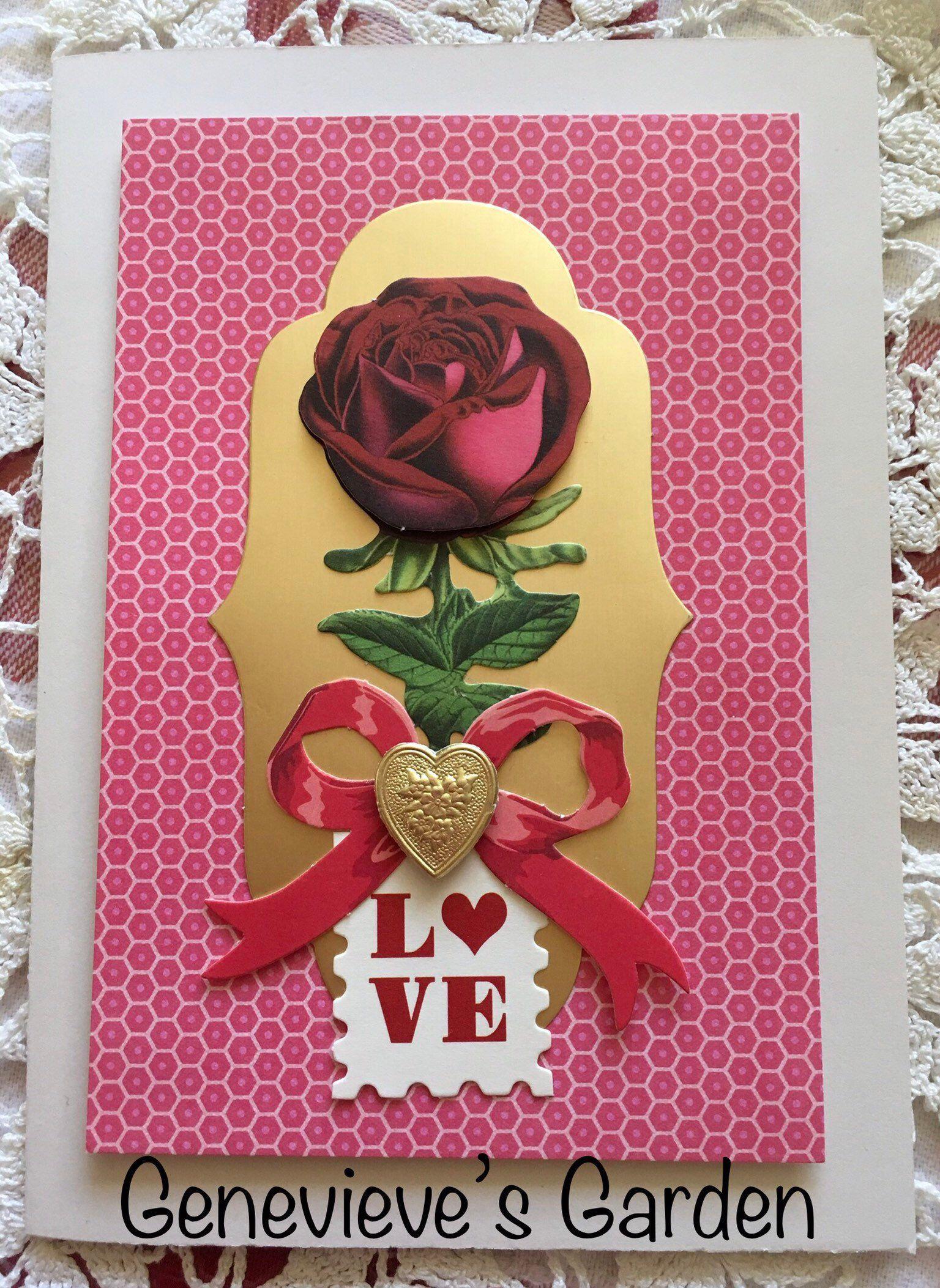Beautiful Rose Love Card Handmade Love Cards Beautiful Roses