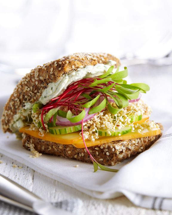 Cucumber Gouda Sprout Sandwich Ingredients 2 Tbsp (30mL) light cream cheese, softened 1 tsp (5mL) chopped fresh dill (or 1/4 tsp/1mL dried) 2 slices rye, whole wheat or gluten-free bread 4 slices cucumber 2 Tbsp (30mL) quinoa sprouts 1/2 tsp (2mL) balsamic vinegar 2 rings sliced red onion 1 slice Gouda cheese