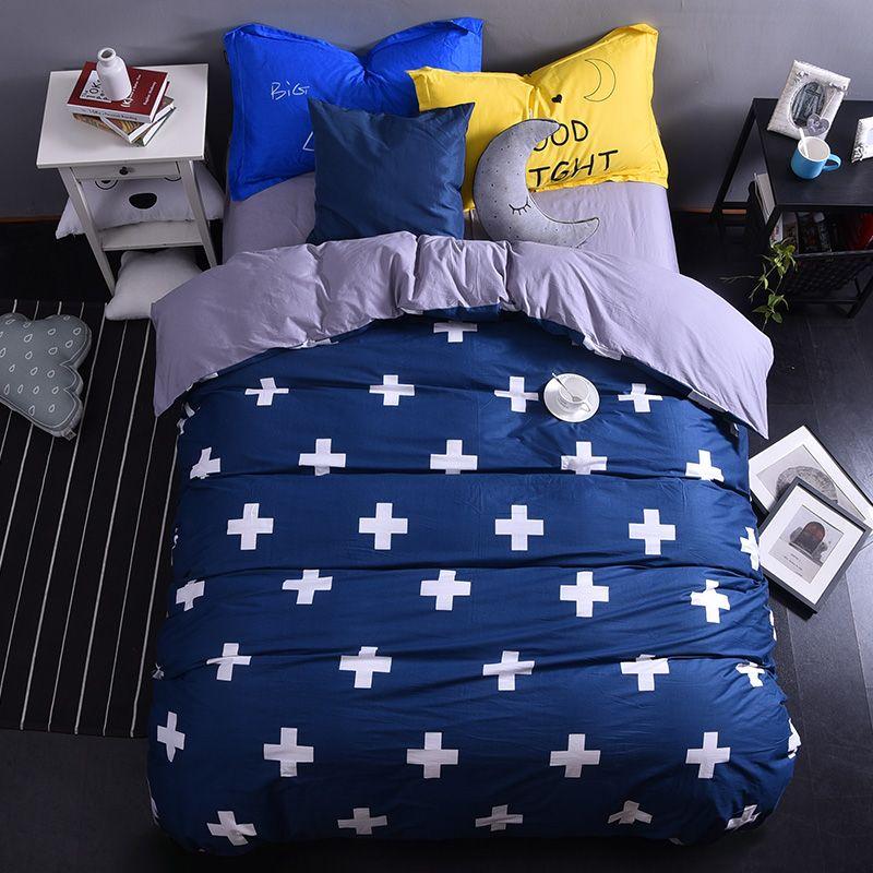 Navy Blue Cross Modern Cotton Bedding Set King Queen Size Doona Duvet Cover Bed Sheet Pillow Cases Bed Bed Linen Sets Duvet Cover Sets Queen Size Duvet Covers