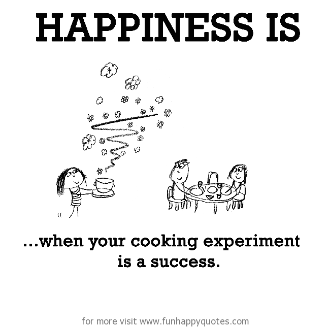 Happiness Is When Your Cooking Experiment Is A Success Happy Quotes Funny Quotes Funny Relationship