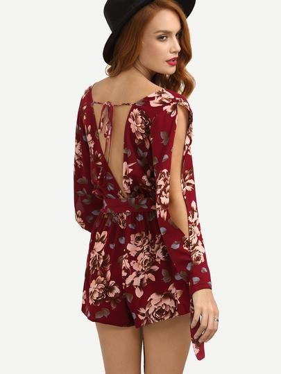 981870a784 Summer Trendy Floral Multicolor Floral V Neck Tie Waist Jumpsuit in ...