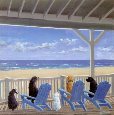 Dogs On Deck Chairs Prints By Carol Saxe At Allposters