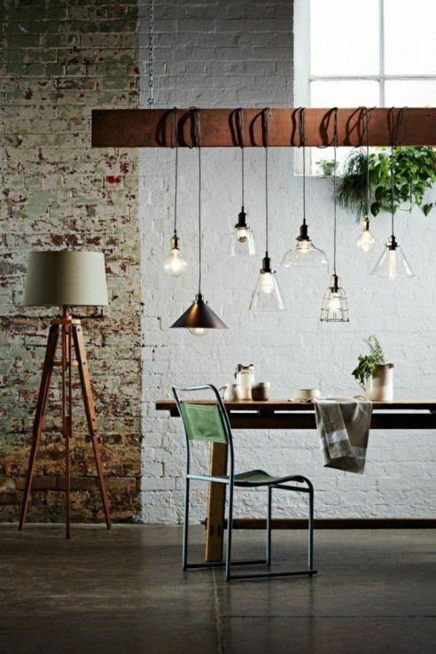 Design Leuchten Pendelleuchten Industrie Steinmauer Wohnideen #furnituredesigns,  #design #fu... #pendelleuchteesstisch