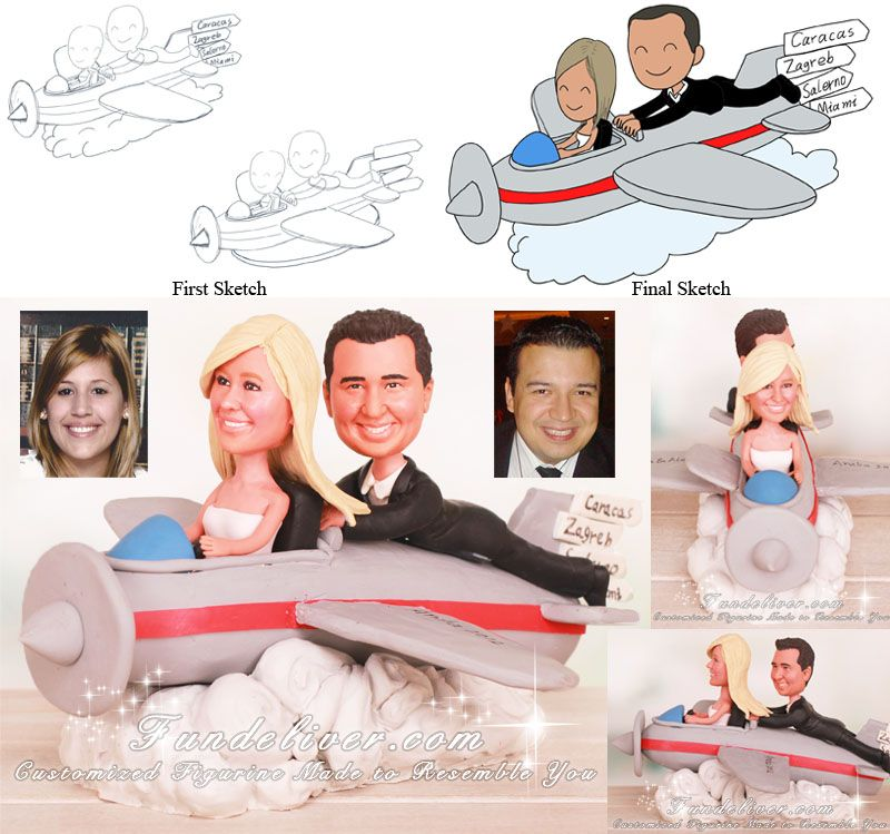 Airplane Travel Wedding Cake Toppers