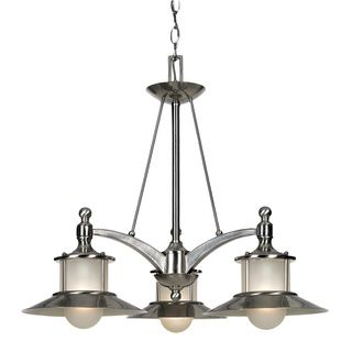Incroyable Quoizel New England 3 Light Chandelier, Brushed Nickel And Acid Etched  Glass Shade