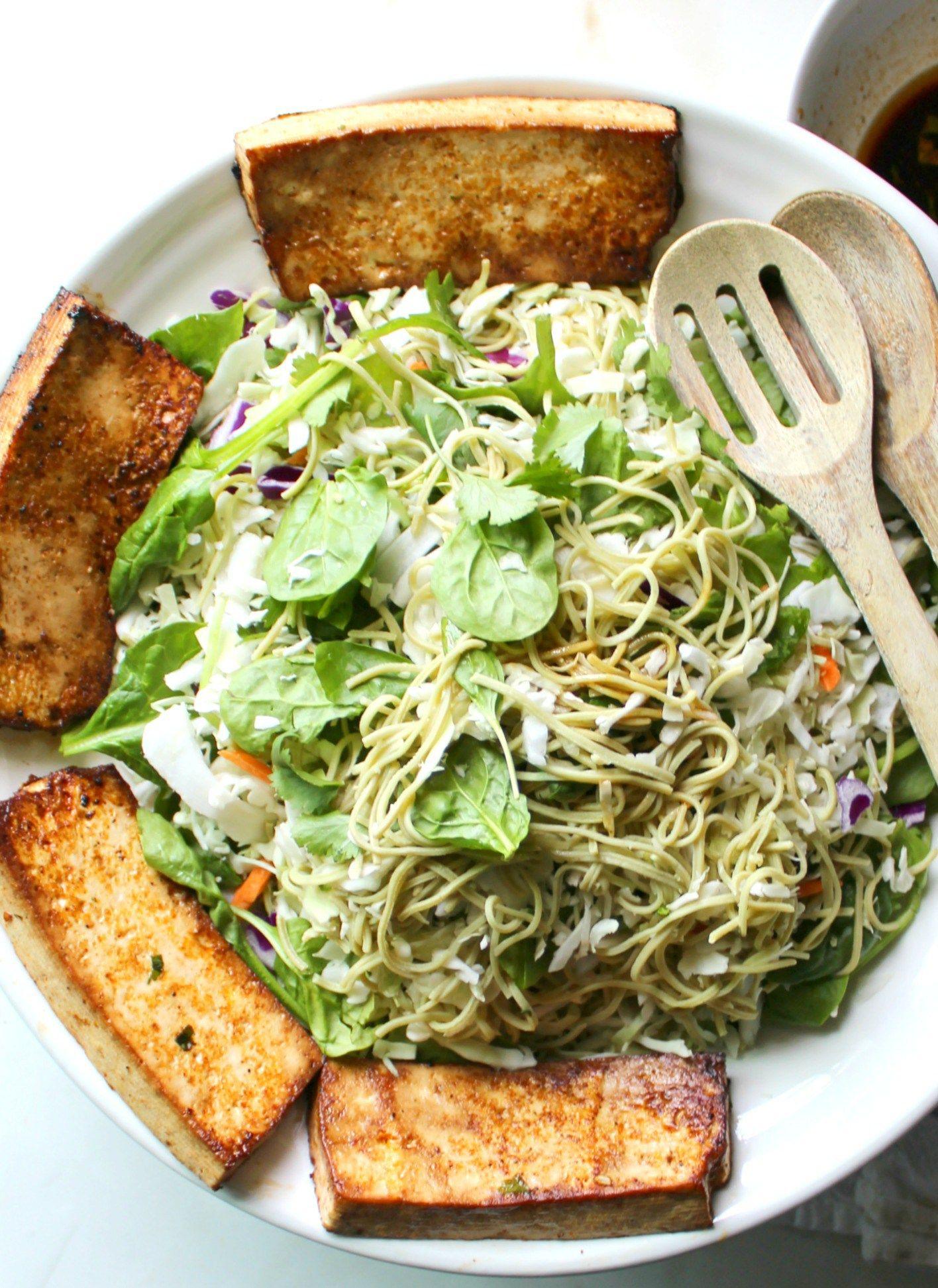 Marinated Tofu Edamame Spaghetti Salad Recipe Edamame Spaghetti