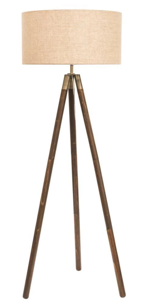 Prince Tripod Floor Lamp Stand Shade Dark Wood Antique Brass Linen In 2020 Floor Standing Lamps Tripod Floor Lamps Floor Lamp