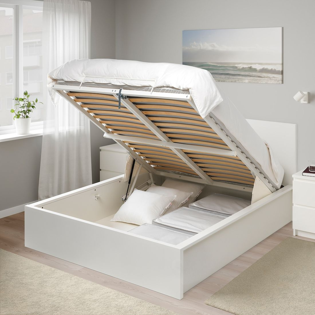Malm Storage Bed White Queen Ikea In 2020 Bed Frame With Storage Ottoman Bed Storage Bed