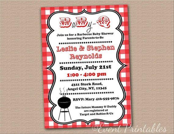 Printable BabyQ Invitation DIY Barbecue Baby by EventPrintables - bbq invitation template
