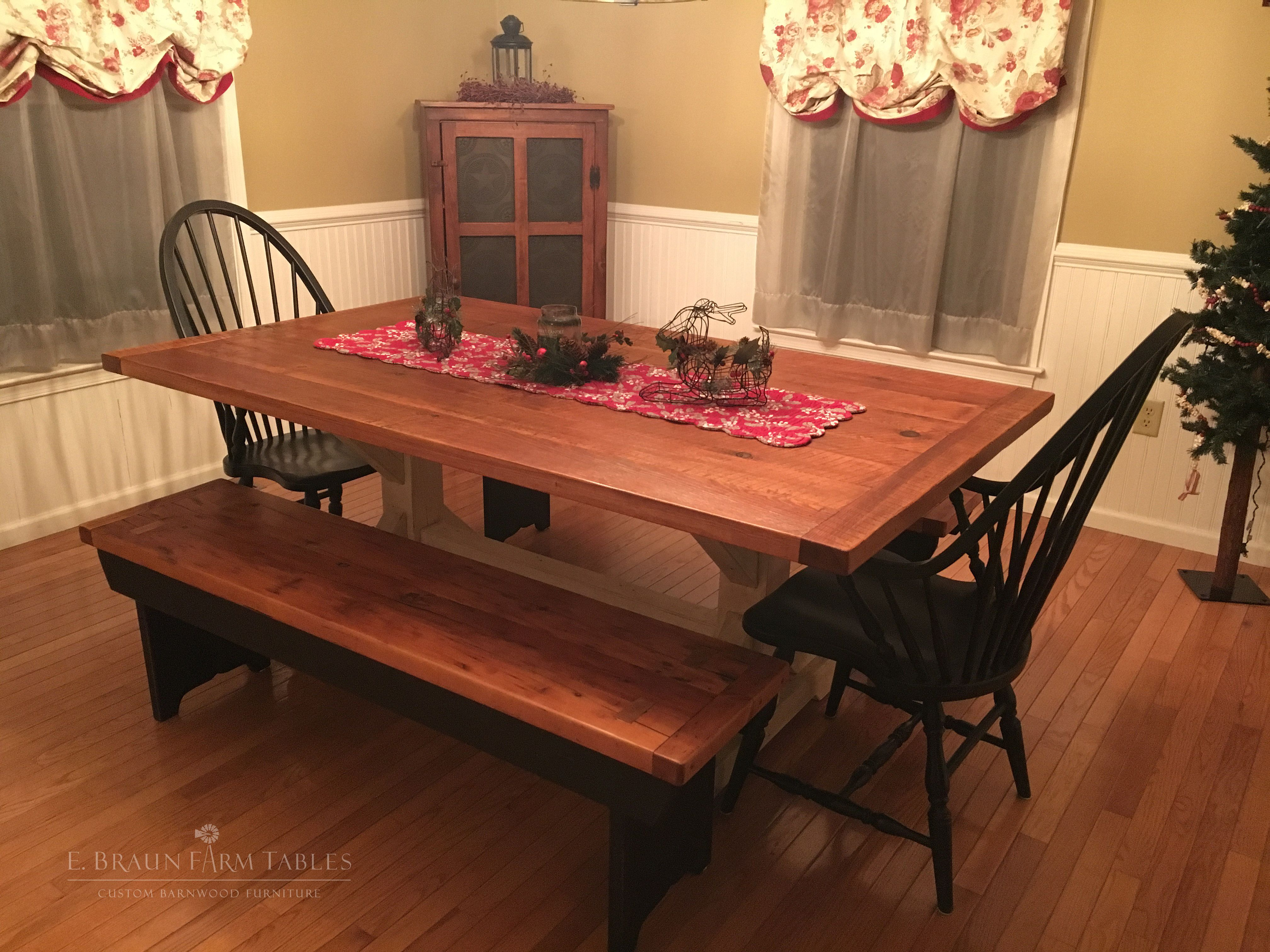 Crossbuck Trestle Farm Table Is Handcrafted Using Reclaimed Barn Wood White Pine High Windsor ChairsReclaimed WoodFarm TablesDining SetsDining